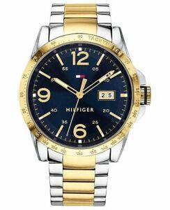 NIB Tommy Hilfiger 1791453 Men's Gold-Tone Stainless Steel Bracelet Watch
