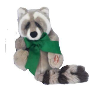 "Dakin Lou Rankin Friends Sammy the Raccoon Plush Toy 10"" Green Bow"