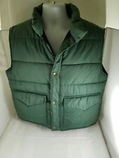Mens CABELAS OUTDOOR GEAR Green Quilted Polyester Filled Nylon Vest Jacket Large