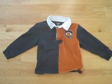 Boy GYMBOREE NAVY BLUE & ORANGE FOOTBALL COLLAR SHIRT GUC 5
