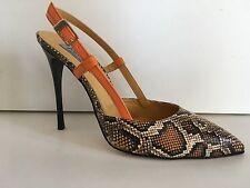 chaussure femme escarpin Mani per Donna Piu cuir orange impriPython Tal.10cm P39
