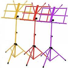 Sheet Music Stand Adjustable Metal Holder Folding Purple Red Yellow Set of Three