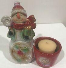 Kirkland's Snowman tea-light holder Hand-painted ceramic