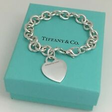 """8.5"""" Large Tiffany & Co Silver Blank Heart Tag Charm Bracelet with Blue Box"""