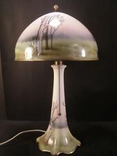 1900 Belleek Bone China H- Painted Porcelain Dome Shade Lamp Lenox Light Fixture