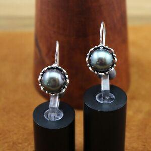 """KTC Israel Flower """"Tahitian Black Pearl"""" Locking Hook Earrings Sterling Silver"""