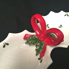 Vintage Otagiro Christmas Holiday Holly Berries Red Bow Serving Tray Japan