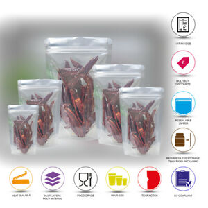 CLEAR TRANSPARENT ZIP LOCK RESEALABLE BAGS STAND UP POUCHES FOOD GRADE HEAT SEAL