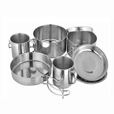 Backpacking Camping Stainless Steel Cookware Picnic Camp Cooking Cook Set