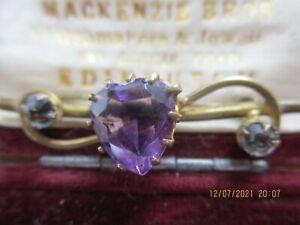 sweet vintage amethyst heart brooch