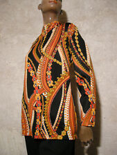 CHIC VINTAGE TUNIQUE 1970 TRUE VTG TUNIC 70s MOD PSYCHEDELIC GRAPHIC RETRO (40)