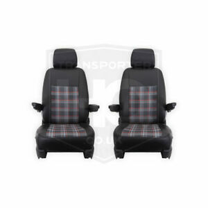 VW Transporter T5.1 and T6 Tailored Black And RED GTI Style Seat Covers 1 + 1