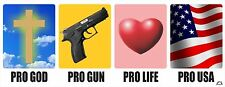 PRO GOD - PRO GUN - PRO LIFE - PRO AMERICA POLITCAL BUMPER STICKER #4181