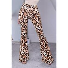 Damen Schlaghose in Boho-Stil Leopard-Optik Braun #H1873