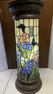 Pedestal Lamp Tiffany Style Stained Glass Spring Floral Design Bronze Finish