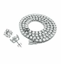 1 ROW SOLITAIRE TENNIS CHAIN SILVER NECKLACE EARRING SET SIMULATED DIAMOND