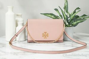 Tory Burch (73507) Britten Large Pebble Leather Pink Moon Crossbody Clutch Bag