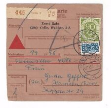 1953 Celle Germany 90pf Posthorn Registry Receipt with Label