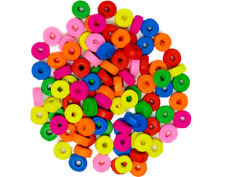 200 Round Disk Wooden Coloured Beads 8mm x 3mm