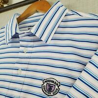 Rare STRAIGHT DOWN x MEDINAH CC Large Mens Golf Polo Shirt White Blue Striped