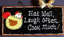 CHICKEN KITCHEN SIGN Eat Laugh Cook WALL HANGER PLAQUE Country Rooster Decor