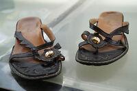 THINK! Damen Sommer Schuhe Sandalen Clogs Zehentrenner Gr.37 Leder black TOP