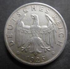 ALLEMAGNE - RÉPUBLIQUE DE WEIMAR - 2 REICHSMARK  1925 A - Argent