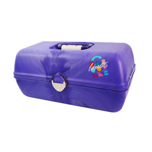 Vintage 90s Caboodles of California Purple Cosmetic Carrying Case 3-Tiers Mirror