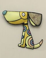 Adorable artistic large dog Pin Brooch enamel on Metal