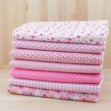 7Pcs Fabric Bundle Pink Floral Dot Plain Cotton Patchwork Sewing Cloth Crafts