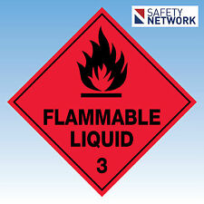 Flammable Liquid 3  Sign Dangerous Goods Pkt 6, 100x100mm Self Adhesive