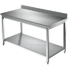 Tavolo 130x70x85 acciaio inox 430 su gambe ripiano alzatina ristorante RS3875
