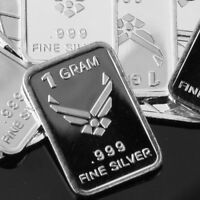 Lot 30 X 1 Gram  .999  Fine Pure Silver Bar Bullion  /  USAF  /   M1PT212 oz