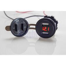 Waterproof Car 4.2A Dual USB Red LED Charger Socket Voltage Voltmeter Panel DG