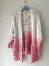 Pink Cream Ombre Fluffy Cosy Long Slv Cardigan 10/12 furry*warm*oversize*baggy