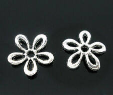 100 Silver Tone Flower Bead Caps Findings 11x11mm Jewelry Making