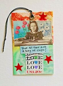 """""""Your All That"""" Original Greeting Card Art With String Collage Art 21/4"""" x 3.5"""""""