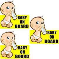 (3 Pack) Baby On Board Vehicle Car Window Safety Warning Vinyl Sticker Decal