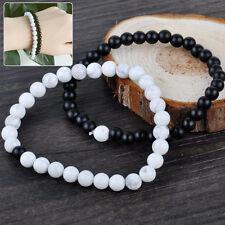 2x Perlen Armband Achat Steine Liebespaar howlith 0.6cm schwarz 0.8cm weiß NEU