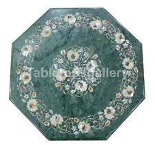 """12"""" Marble Top Coffee Table Mother of Pearl Floral Inlay Art With 15"""" Stand B178"""