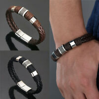 Fashion Vintage Leather Weave Bracelet Brass Buckle Bangle Punk Jewelry Gif NTAT