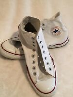 EUC Used Red White Converse High Tops Mens 9 Ladies 10 Shoes Boots No Laces Star