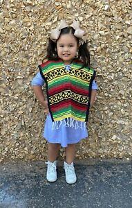 Mexican Poncho , falsa , Costume ,Blanket Sarape Gaban ,Kids Size 5-6 , RASTA