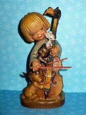"Vintage Anri Ferrandiz-The Quintet Girl Animals Cello Wood Figurine 6"" Tall"
