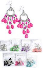 Silver-Tone Multi Bead Teardrop Dangle Drop Chandelier Earrings -E797