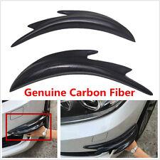 2×Real Carbon Fiber Car Front Bumper Splitter Shark Fin Spoiler Canards Exterior