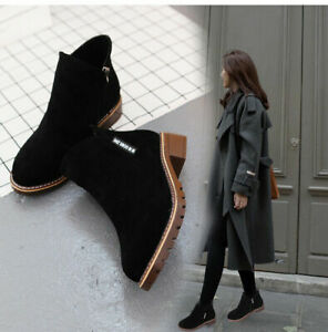 Womens Suede Chelsea Ankle Boots Ladies Casual Low Block Heel Slip On Shoes!Size
