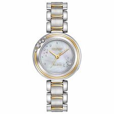 Citizen Eco-Drive Carina Women's EM0464-59D Diamond Accents Two-Tone 28mm Watch