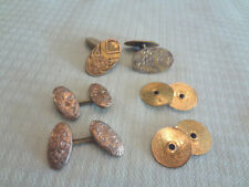 3 Pairs Antique Gold Filled Cufflinks Victorian & Art Deco