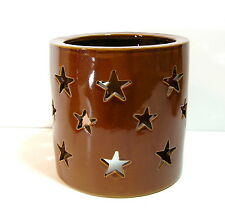 Pottery Hurricane Candle Cover With Star Cut Outs, Primitive Country Style